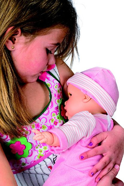 A girl with her breastfeeding baby.