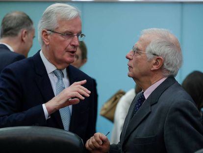 Head of UK Task Force Michel Barnier talks to Foreign Affairs High Representative Josep Borrell in Brussels.