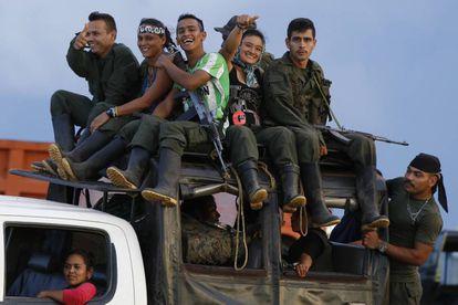 FARC guerillas prepare to move to concentration zones during disarmament process.