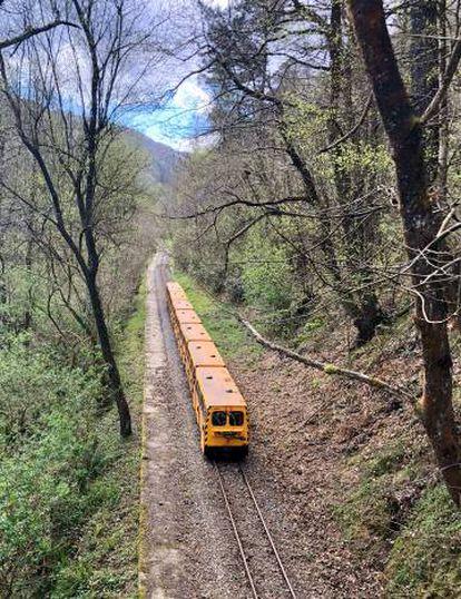 Mining train at the Samuño Valley Mining Ecomuseum, near Langreo, Asturias.