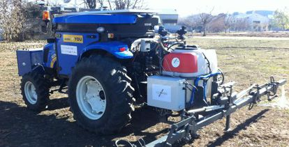 The prototype of an automatic tractor developed by a Spanish team.