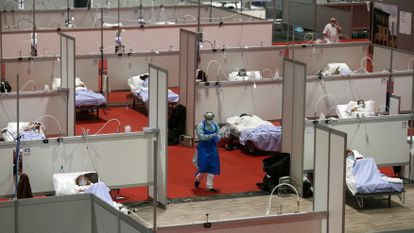 The field hospital at the Ifema convention center in Madrid.