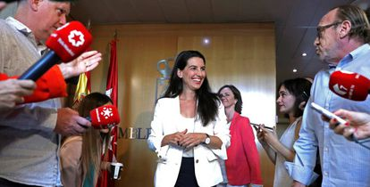 Vox's candidate for Madrid premier, Rocío Monasterio, speaking to reporters last week in the regional assembly.