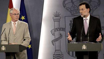 Mariano Rajoy and Herman Van Rompuy in Madrid on Tuesday.