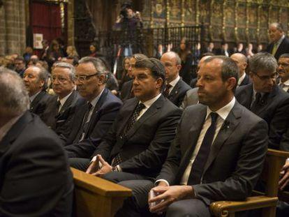 Former Barcelona presidents (r to l) Sandro Rosell, Joan Laporta and Joan Gaspart at the Mass for Vilanova.