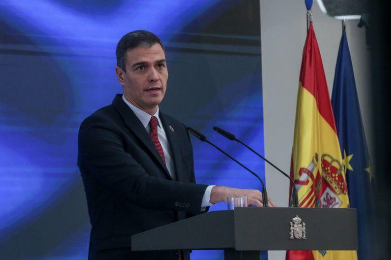 Pedro Sánchez during today's presentation.