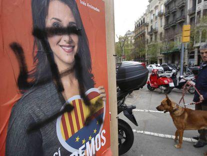 A vandalized Ciudadanos campaign poster in Barcelona.