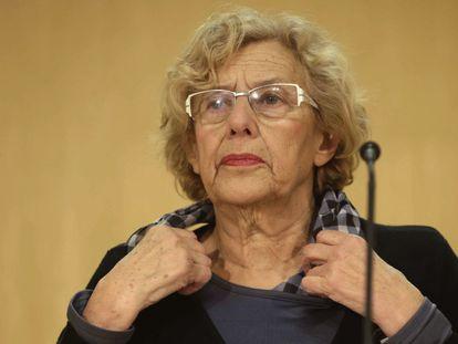 Madrid Mayor Manuela Carmena speaks to reporters on Monday.
