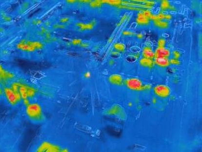 Thermal image taken by a drone of the chemical plant.