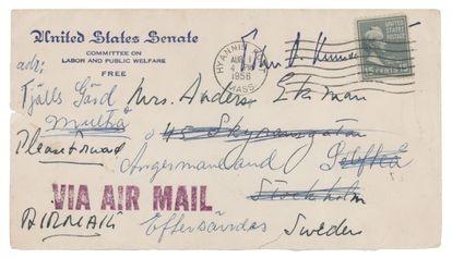 A handwritten envelope addressed to Gunilla von Post when she was already married to Anders Ekman.