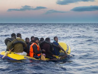 Migrants in a rubber dinghy in the Strait of Gibraltar last November, waiting to be rescued.
