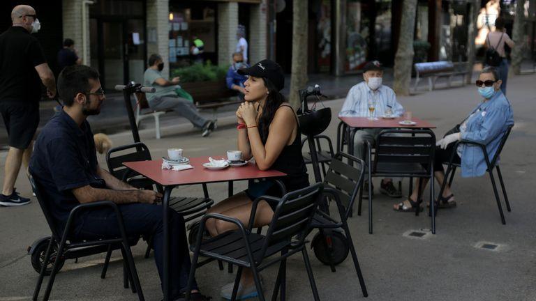 A sidewalk café Rambla in Barcelona on Monday.