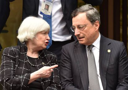 Federal Reserve official Janet L. Yellen and ECB President Mario Draghi.