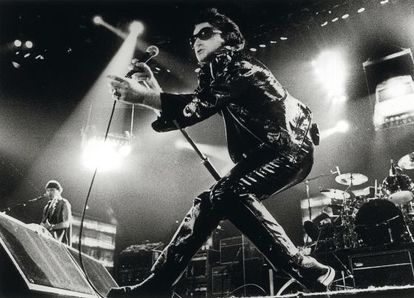 Bono, the frontman for U2, during the ZOO TV Tour in the 1990s.