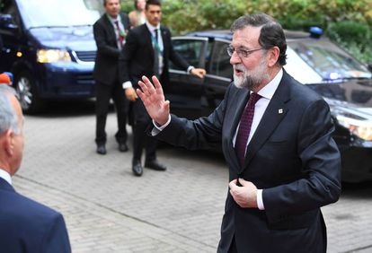 Prime Minister Mariano Rajoy arriving in Brussels today for an EU summit.