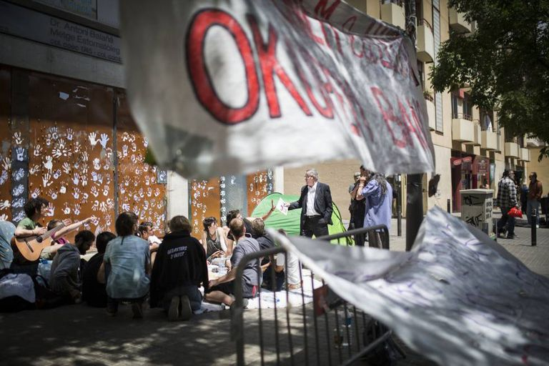 Squatters protesting the eviction in Gràcia.