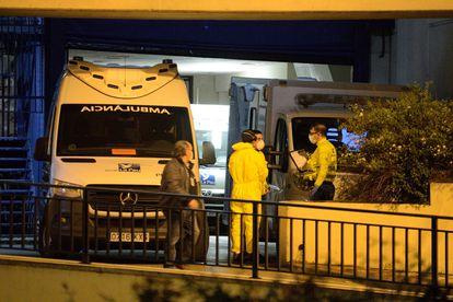 Ambulances arrive at the Txagorritxu hospital in Vitoria.