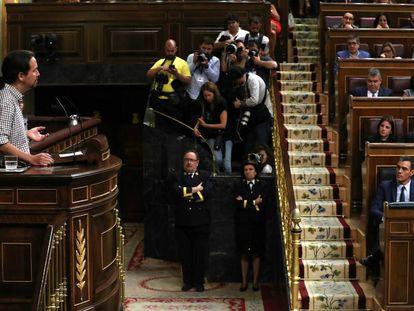Pablo Iglesias addressing Congress on Thursday.