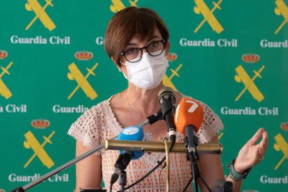 Civil Guard director María Gámez at a news conference on Tuesday in Murcia.