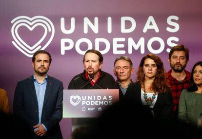 Unidas Podemos candidate Pablo Iglesias speaks to supporters in Madrid.