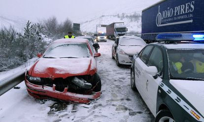 Accident caused by the snow in Galicia.