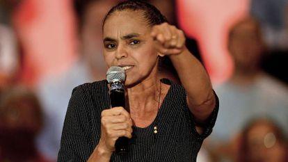 Marina Silva gives her first speech as candidate.