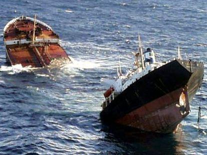The Prestige oil tanker sinks in 2002.