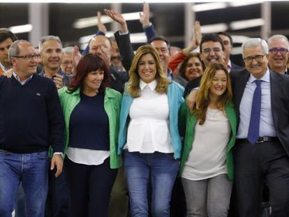 Susana Díaz arrives for her victory speech after the voting polls close.