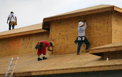 Construction workers building a house in Boca Raton, Florida.