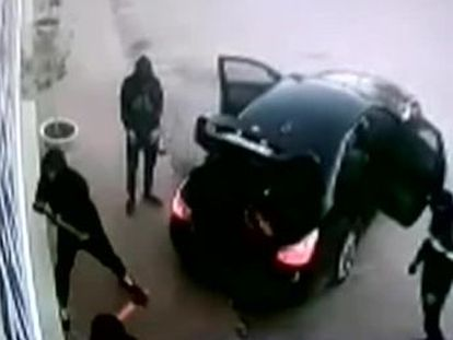 Security footage shows the man stepped in to intervene despite being unarmed and outnumbered