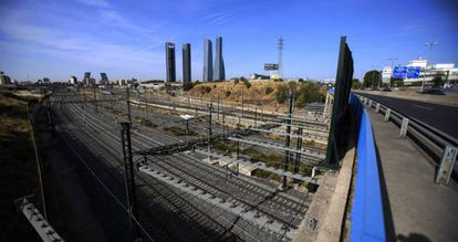 Seen from Chamartín station, the view across part of the area to be developed.