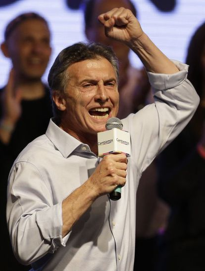 Mauricio Macri speaks to supporters Sunday.