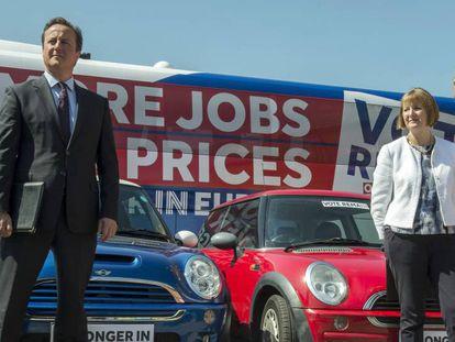 British PM David Cameron campaigning against Brexit.