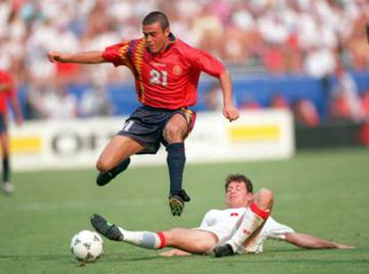 Luis Enrique plays for the Spanish national team in the 1994 World Cup in the United States