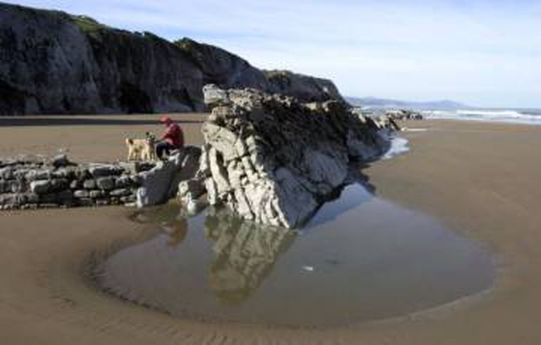 'Flysch' rock structure on Itzurun Beach in Zumaia