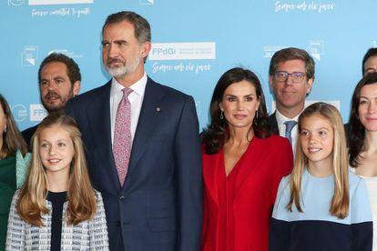 Felipe VI and Letizia with Princesses Leonor and Sofia at the awards ceremony on Monday.