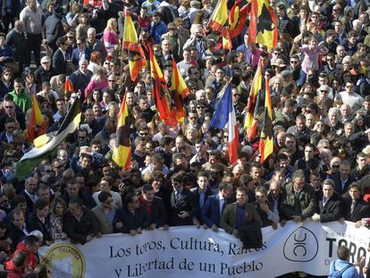 A Sunday march in Valencia to defend bullfighting.
