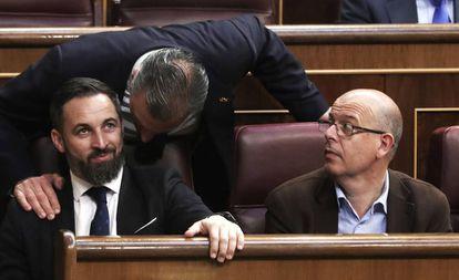 Vox leader Santiago Abascal (left) and Catalan Socialist José Zaragoza.