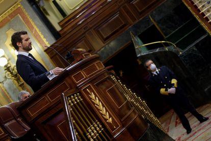 PP leader Pablo Casado addresses Congress on Thursday.