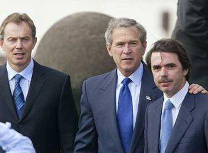 Blair, Bush and Aznar at the Azores Islands summit.