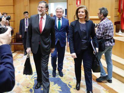 Prime Minister Mariano Rajoy and Labor Minister Fátima Bañez.