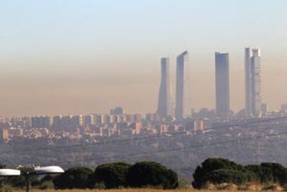 A cloud of smog over Madrid.
