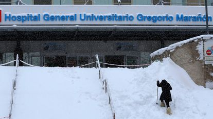 The entrance to the Gregorio Marañon hospital in Madrid covered in snow due to Storm Filomena.