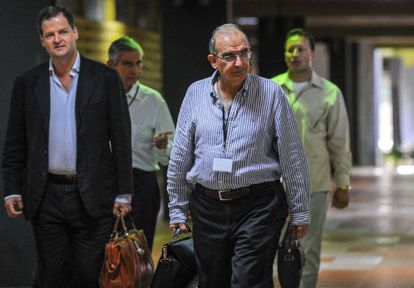 Colombia's chief negotiator in the FARC peace talks arrives in Havana on Tuesday.