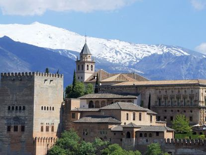 Granada's Alhambra, with the Sierra Nevada in the background.