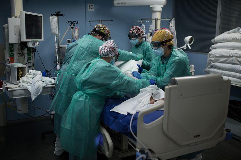 A Covid-19 patient at the intensive care unit of Santa Creu i Sant Pau Hospital in Barcelona.