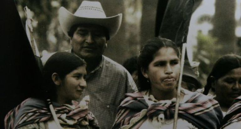 Evo Morales and leaders of the women's coca grower movement.