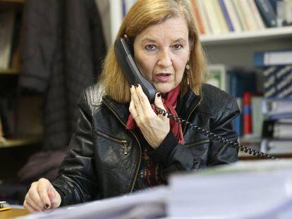 María Elosegui in her office at the Law School in Zaragoza.
