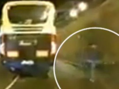 The municipal authorities have been trying to identify the culprit on the electric-powered device. The video of the incident, shot from a car, has since gone viral