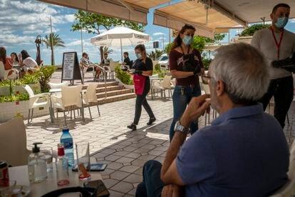 A street café in Gandía, Valencia earlier this week.